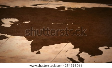 Old paper World Map, Macro, Center Asia, B. - stock photo