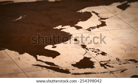 Old paper World Map, Macro, East Asia A. - stock photo
