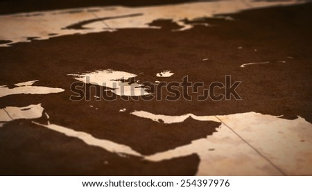 Old paper World Map, Macro, West Asia, A. - stock photo