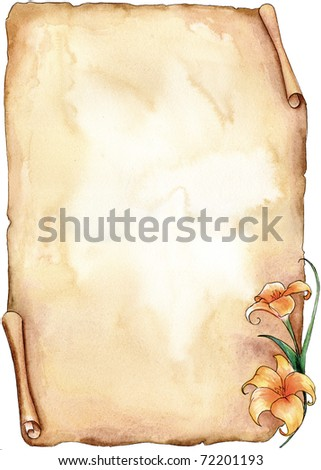 Old parchment decorated with a lilium. Watercolor illustration. - stock photo