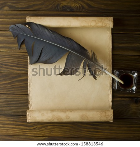 Old parchment or diploma scroll - stock photo