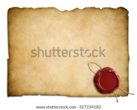 Old parchment paper or letter with red wax seal isolated - stock photo