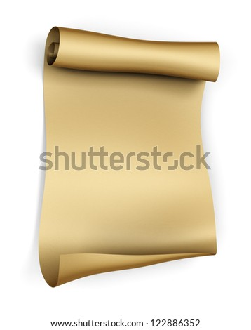 Old parchment paper scroll - isolated on white background - stock photo