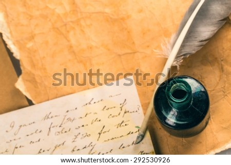 Old, Parchment, Quill Pen. - stock photo