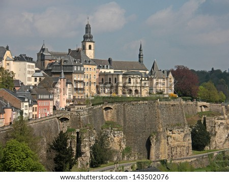Old Part of Luxembourg City - stock photo
