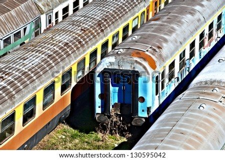 Old Passenger Train / group of trains - stock photo