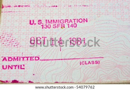 Old passport stamp - stock photo