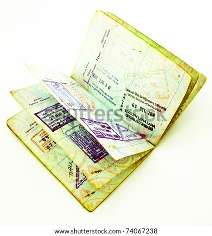 old passport with visas - stock photo