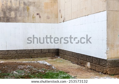 Old Peeling Painted Wall, the angle of the facade of the building. Background texture for all of your project - stock photo