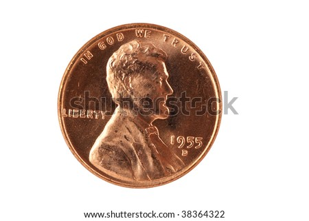 Old penny front isolated on white - stock photo