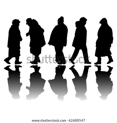old people black silhouettes, abstract art illustration; for vector format please visit my gallery - stock photo