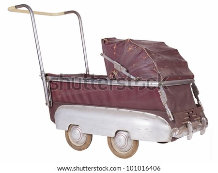Old perambulator - stock photo