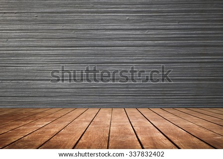 old perspective wooden floor and grey fiber glass - stock photo