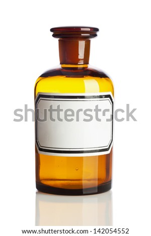 Old pharmacy bottle with blank label isolated on white background - stock photo