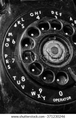 Old Phone - Antique Rotary Dial Telephone IV - stock photo