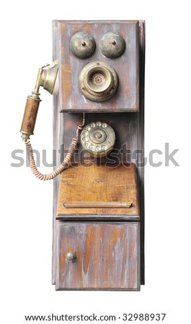 old phone in wood case with modern cable