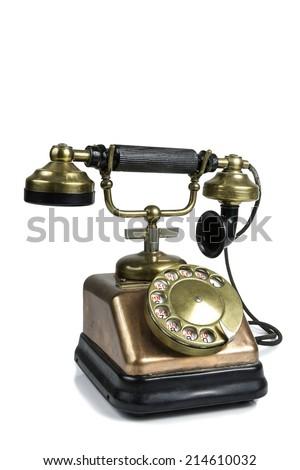 Old Phone Isolated on White - stock photo
