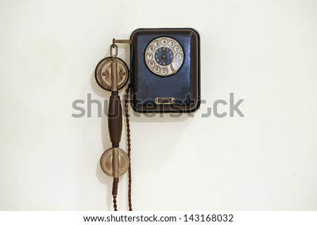 old phone, nineteenth and twentieth century, from the beginning of telephony - stock photo
