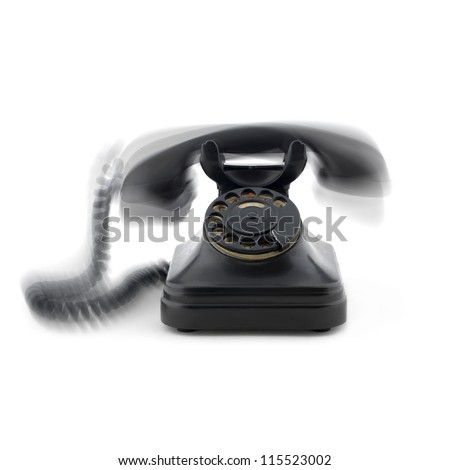 old phone on white background and rings