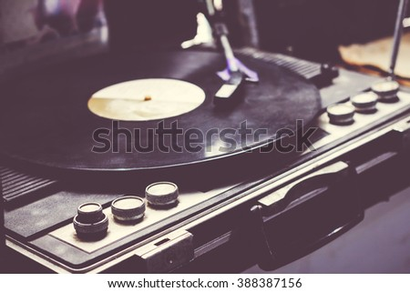 Old phonograph and gramophone records, Vintage - stock photo