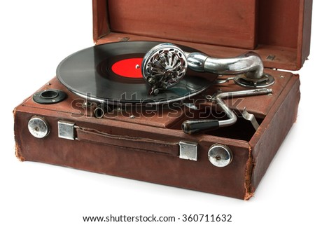old phonograph and vinyl record isolated on white background - stock photo