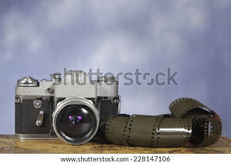 Old photo camera - stock photo