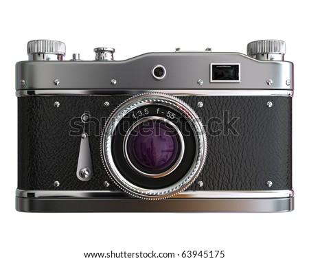 Old photo camera on white background - stock photo