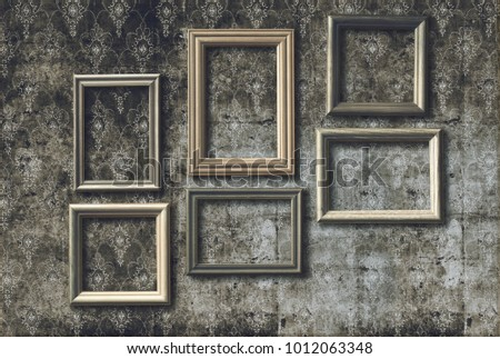 Old Photo Frames On Retro Wallpaper Stock Photo (Royalty Free ...