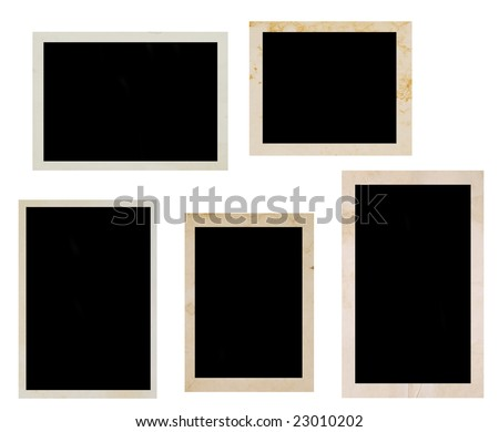 old photo frames over white background - stock photo
