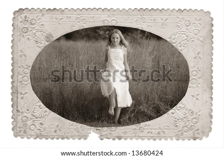 old photo - girl in the white dress - stock photo