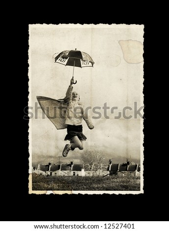 old photo - girl with umbrella - stock photo