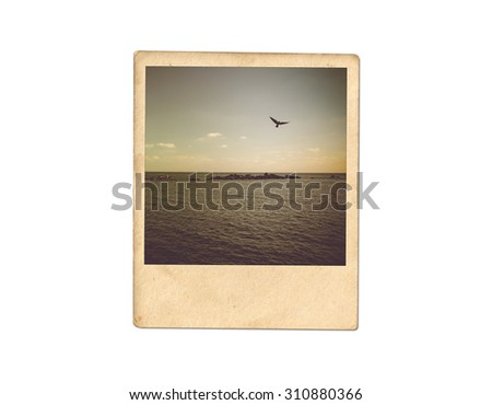 Old photo isolated on white background - stock photo