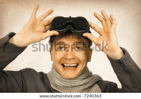 old photo of smiling man with sun glasses - stock photo