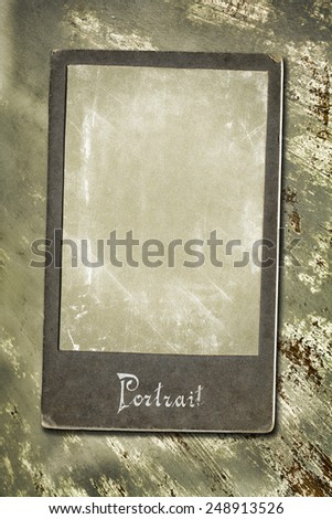 Old photo on wooden table. - stock photo