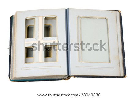 old photoalbum with empty frames, clipping path