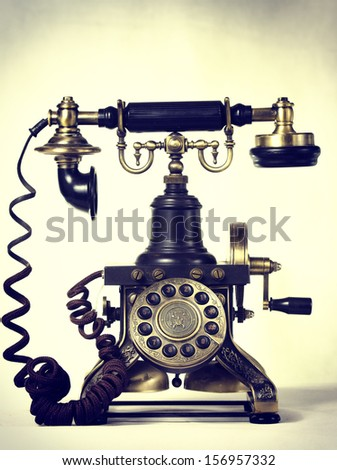 Old photograph of a phone of the nineteenth century, elegant communication concept