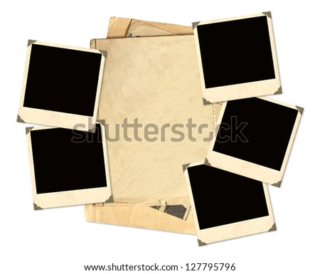 Old photos for scrapbooking Object isolated over white - stock photo