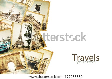 Old photos on the white. Traveling concept. - stock photo
