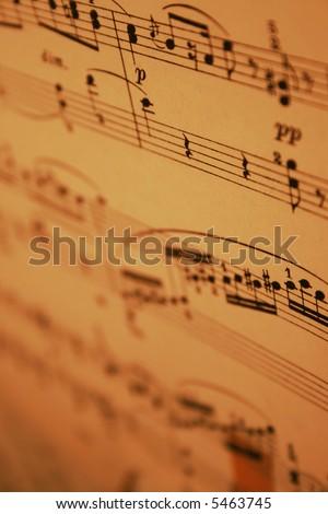 old piano sheet music - stock photo
