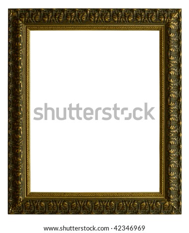 Old picture frame and photo on a white background.