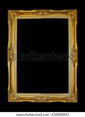 Old picture frame isolated on black background