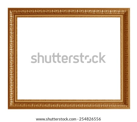 Old picture frame isolated on white background.