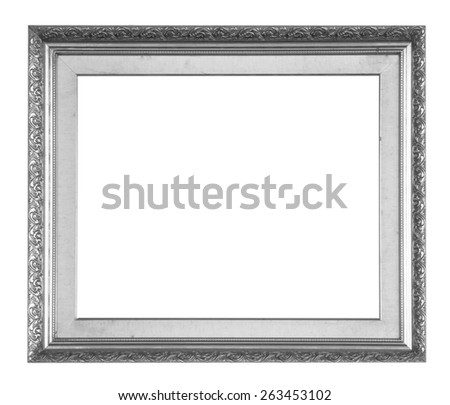 Old picture frame isolated on white background. - stock photo