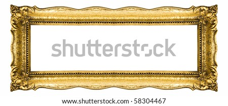Old Picture Frame Isolated On White Background, Design Element - stock photo