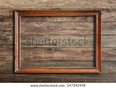 old picture frame on vintage wood stock photo edit now 247342498
