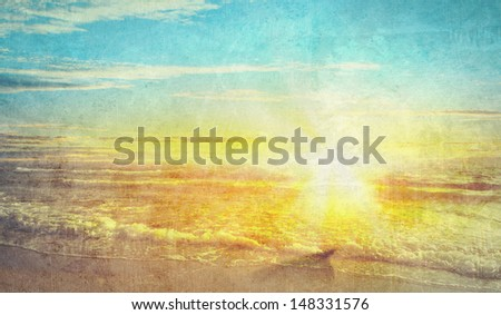 Old picture with a sea scape as a background - stock photo