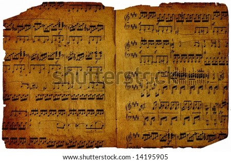 Old piece of paper with musical notes - stock photo