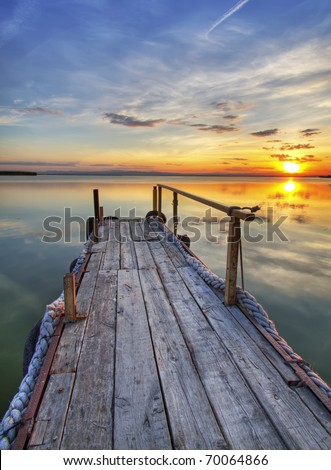 old pier - stock photo