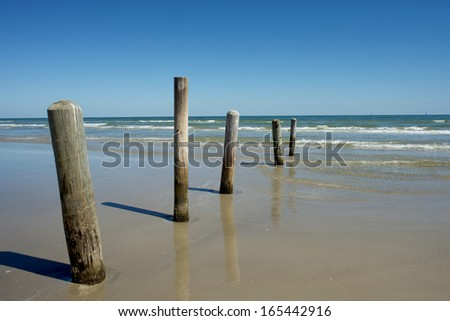 Old piling posts stand guard at a Padre Island beach. - stock photo