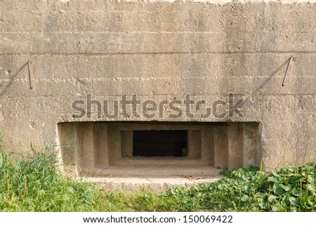 old pillbox since the Second World war at the turn of the defense of Moscow, Mozhaysk district, Russia - stock photo
